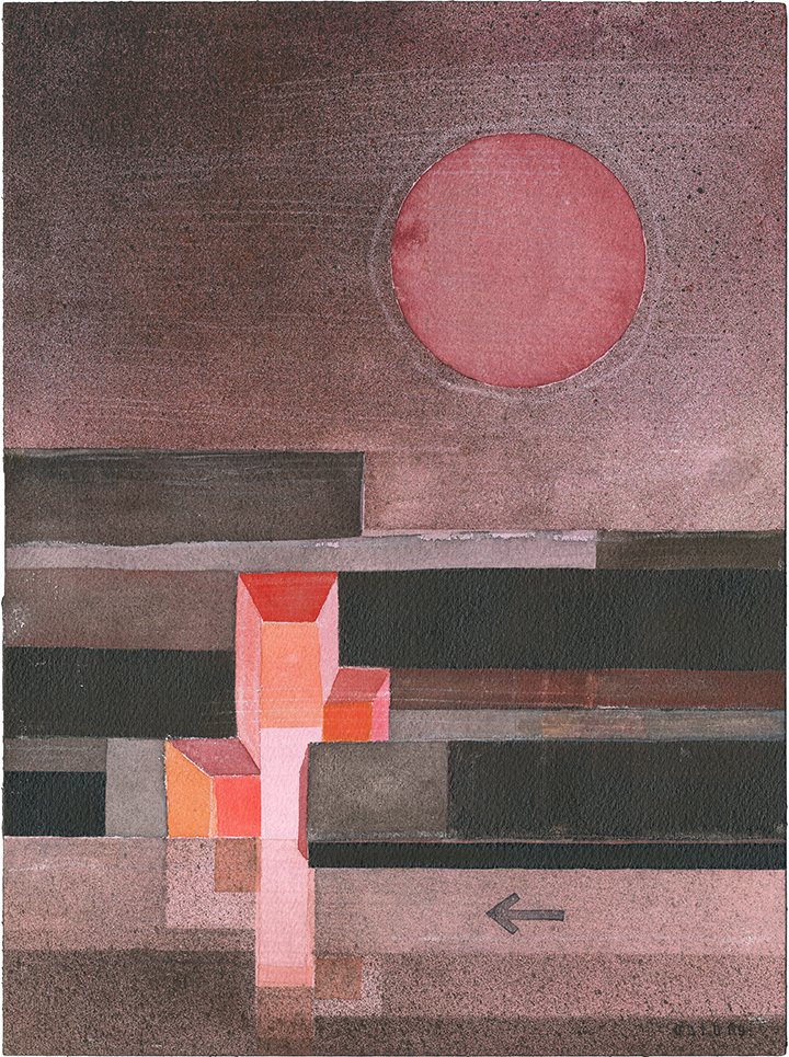 Painting in red colors of a dark, horizontally striped facade with an irregular hole all the way through the building mass. Red sun on the sky.