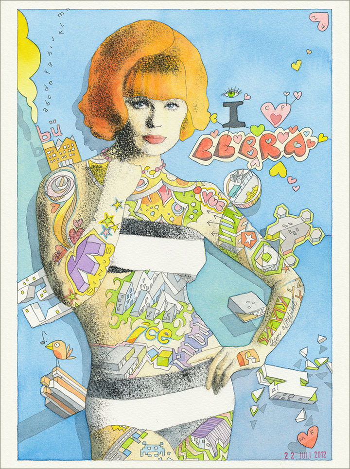 Painting of tattooed, ginger, retro lady posing in bikini. On and around her illustrations of significant buildings designed by CEBRA.