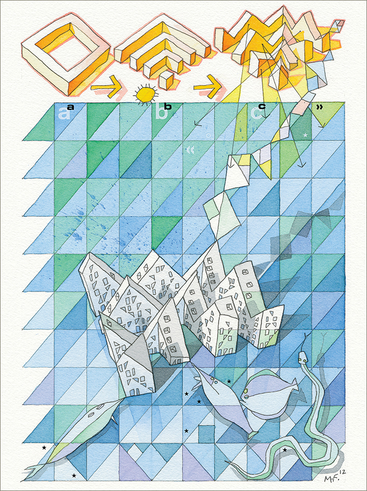 Bluish painting of CEBRAs Iceberg, steps showing creation of volume. Building and four fish shown on triangular pattern.