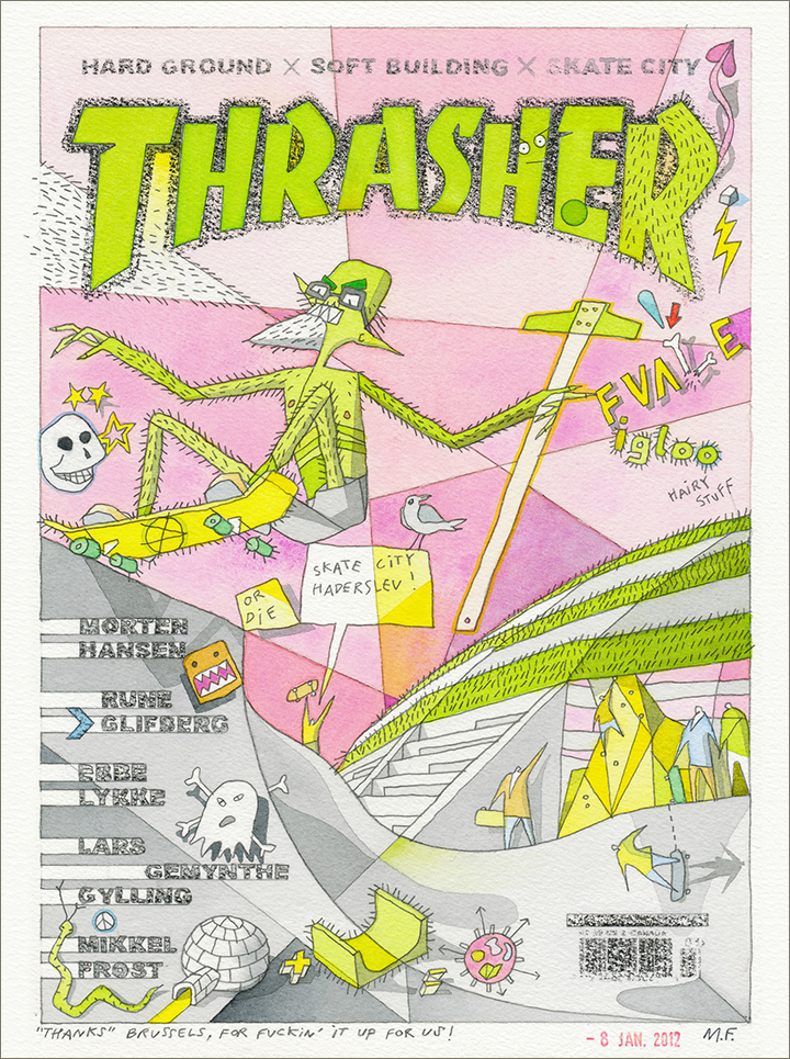 Thrasher magazine cover meme with StreetDome on pink sky. Green, hairy monster with ruler skating adjacent pool.
