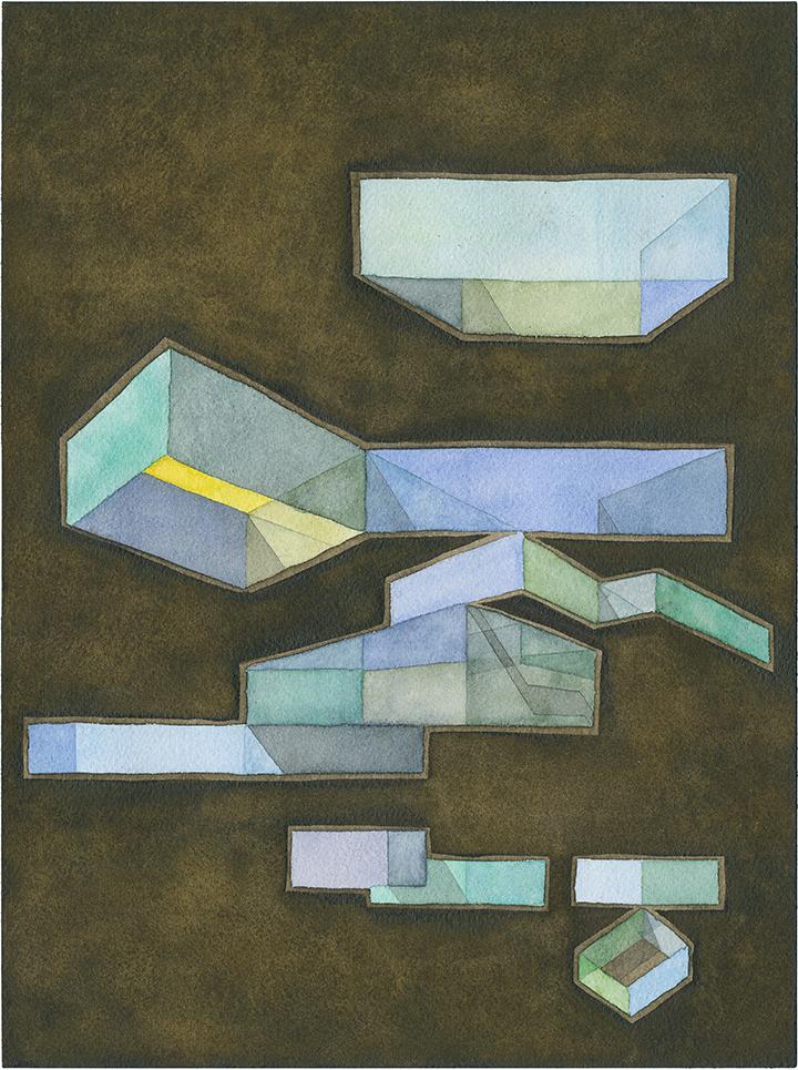Bluish, floating façade abstraction on dark background illustrating color shifts on regular volumes.