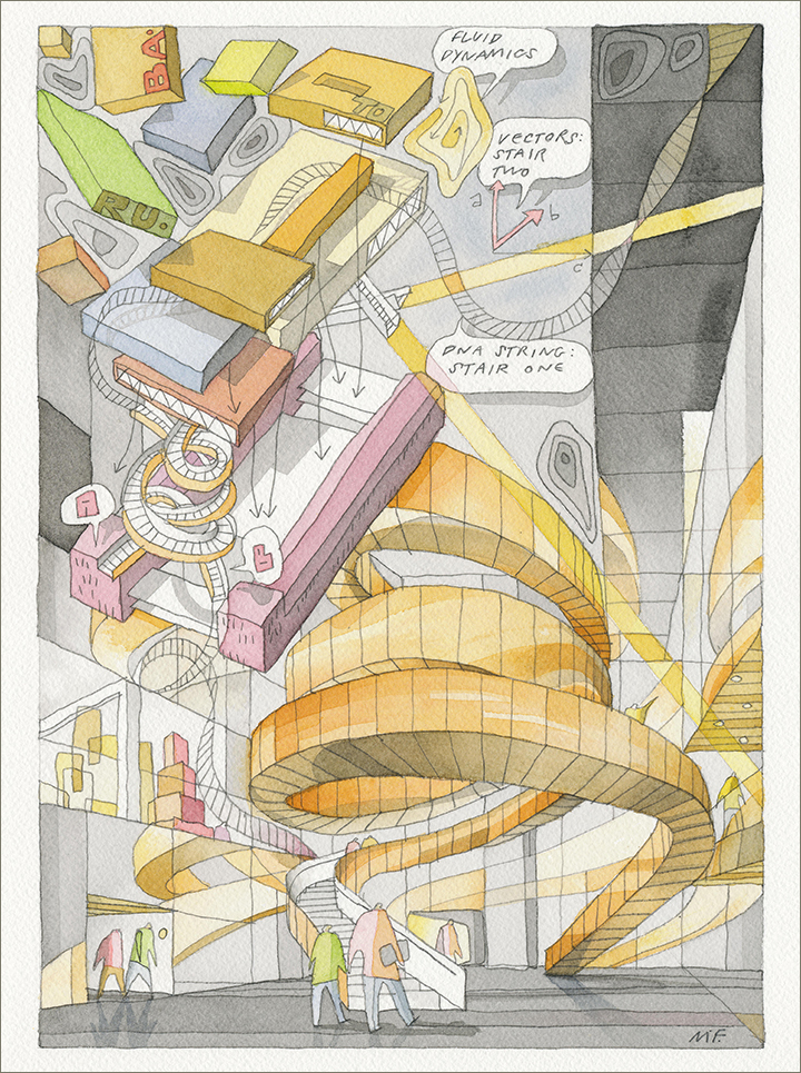 Perspective painting of the double helix, cobber clad stair of the Experimentarium. In corner a functional box diagram.