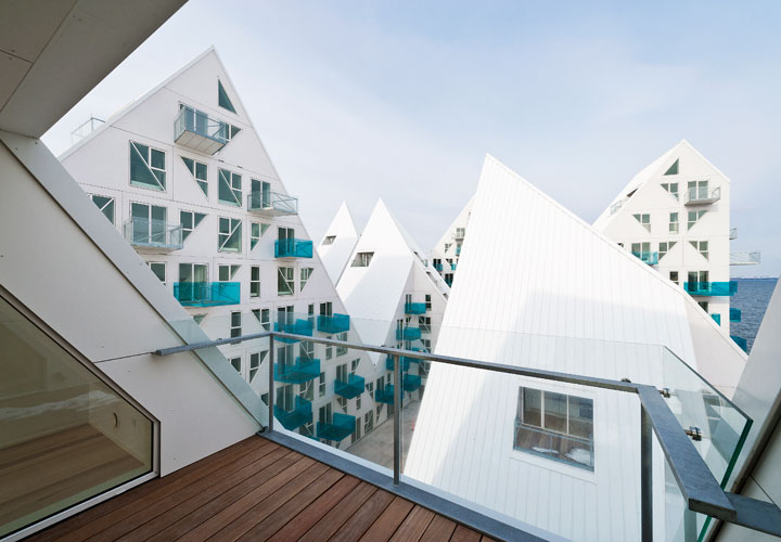 Balcony view from the Iceberg Aarhus building by CEBRA architecture.