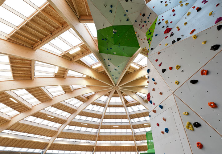 Inside StreetDome - wood architecture - climbing wall - a project by CEBRA Architecuture - Denmark