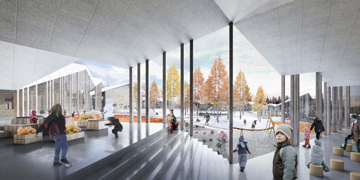 The Innovative Smart School project by CEBRA Architecture. View of the courtyard from the open-air lessons.