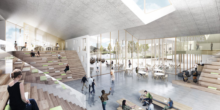 The Innovative Smart School project by CEBRA Architecture. Inside view of the central space of the school.