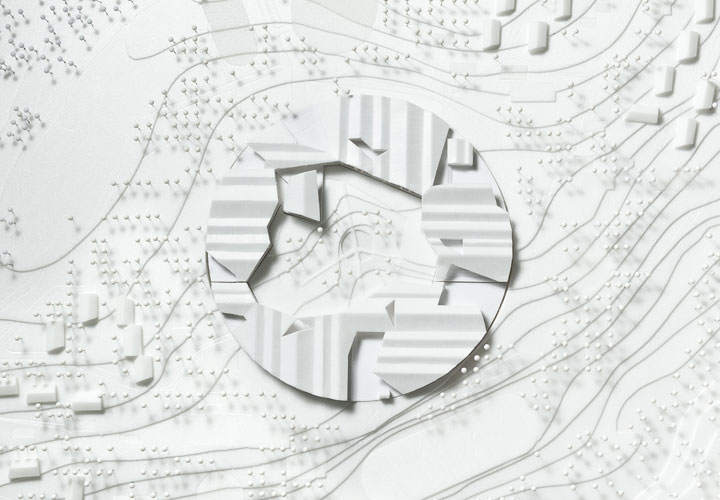 The Innovative Smart School project by CEBRA Architecture. View of the white physical model.