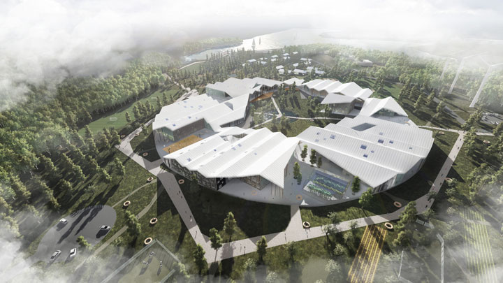 Aerial view of the Innovative Smart School project by CEBRA Architecture. A school for the future.