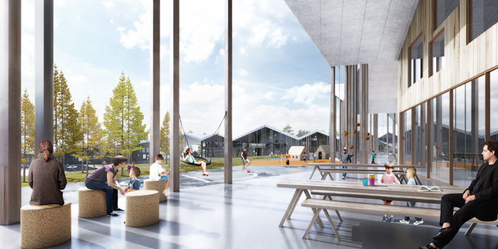 The Innovative Smart School project by CEBRA Architecture. Teachers and students under the cantilevering roof.
