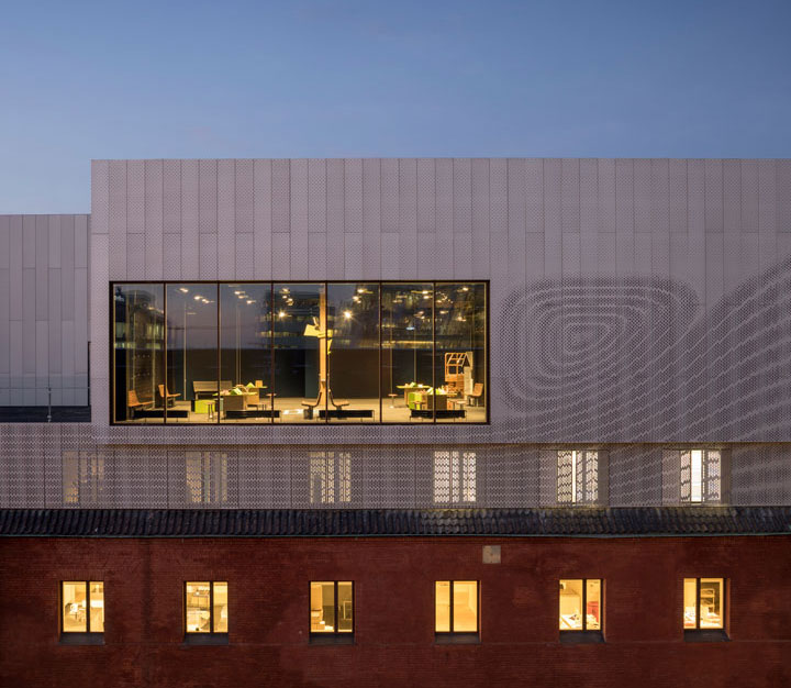 The experimentarium building by CEBRA Architecture - a science museum in Copenhagen. Cladding based on fluid dynamics.