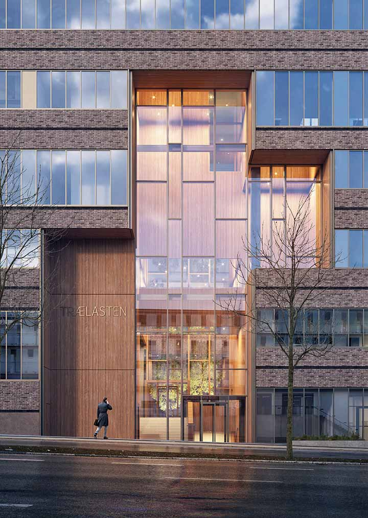 Frontal close-up visualization of one of the office building's entrances designed as a large wood-clad keyhole that accentuates access points visually and physically within the elongated facade