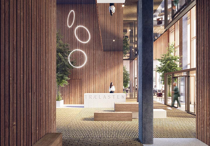 Interior visualization of the office building's lobby with wood-clad walls that create a warm and welcoming atmosphere