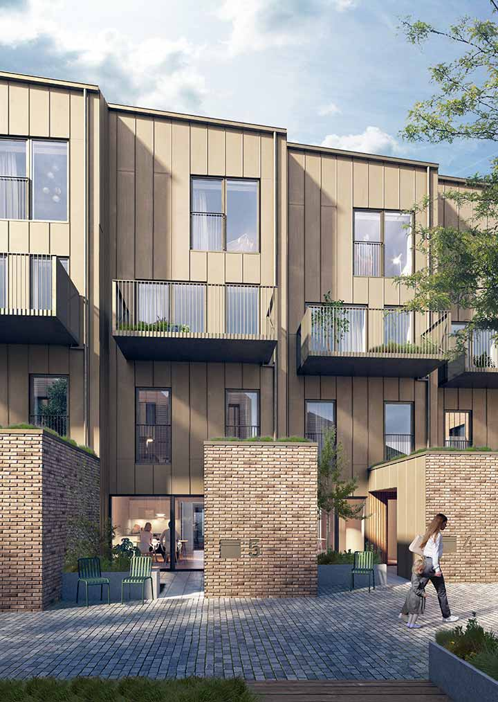 Exterior visualization of the façade of the connected townhouses that create the southern wing of Trælasten' perimeter block structure