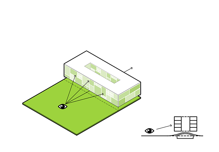 The irregular grid of the façade design directly mirrors the varying sizes of the interior classrooms