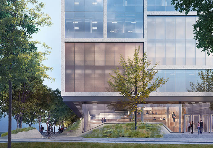 The UTSC Instructional Centre Phase 2's sloping interior learning landscape combines open areas for social activities and intimate zones for meetings or group studies