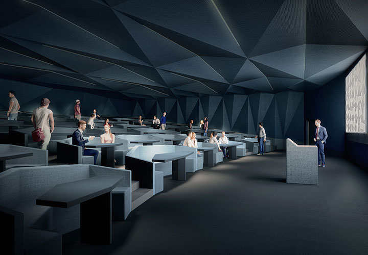 The Collaboratorium classroom layout consists of tiered niches that accommodate up to six people around a table