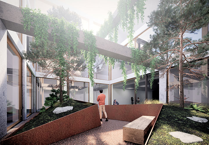 Green courtyards on the fifth floor of the UTSC Instructional Centre Phase 2 optimize daylight conditions and provide outdoor spaces for the upper levels