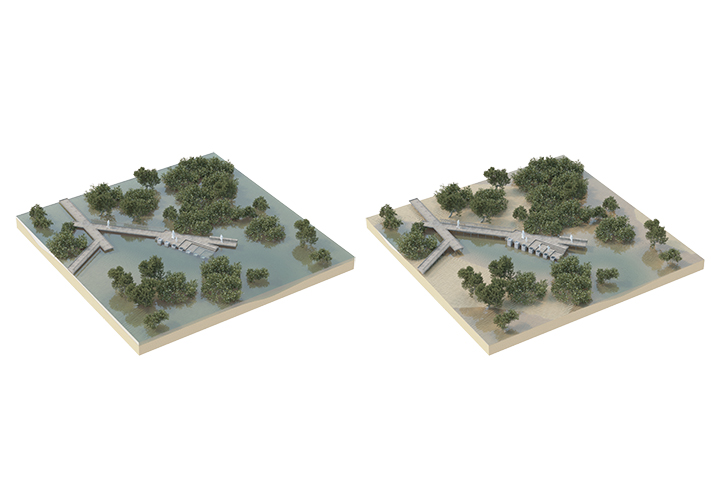 Axonometric visualization of a learning node that illustrates how the tide changes the Mangrove Park's landscape