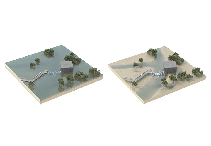 Axonometric visualization of a learning node that consists of a detached platform that is only accessible at low tide