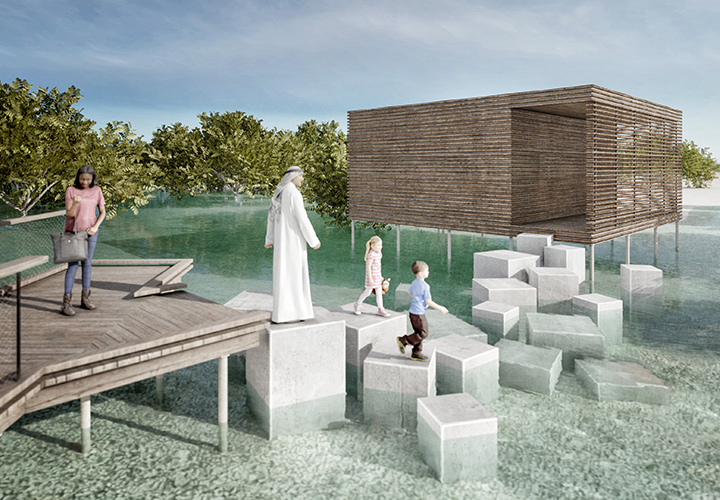 Visualization of the detached platform accessible via a series of concrete blocks that only become walkable at low tide