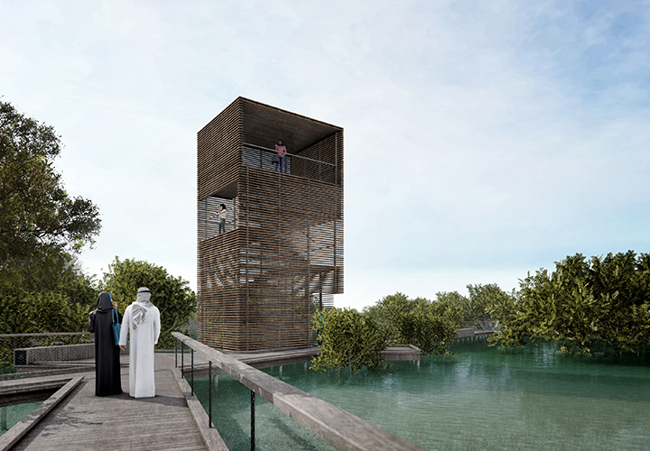 Visualization of the viewing tower that rises above the tops of the mangrove trees