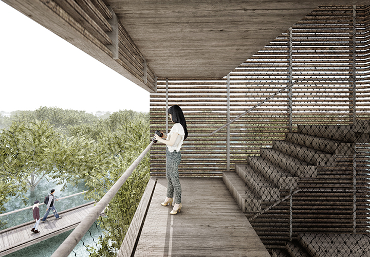 Interior visualization of the viewing tower showing the view over the mangrove landscapeInterior visualization of the viewing tower showing the view over the mangrove landscape