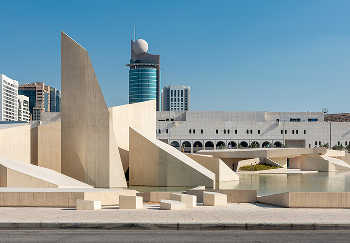 Al Musallah prayer hall in Abu Dhabi, UAE by CEBRA Architecture seen in front of the Cultural Foundation at the Qasr Al Hosn